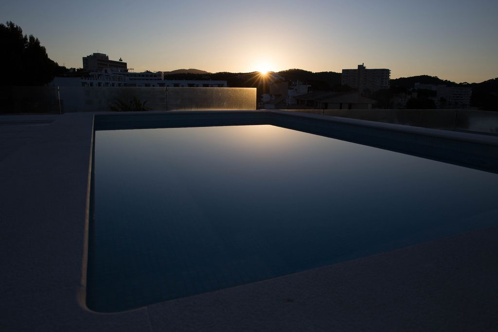 Small swimming pool at sunrise
