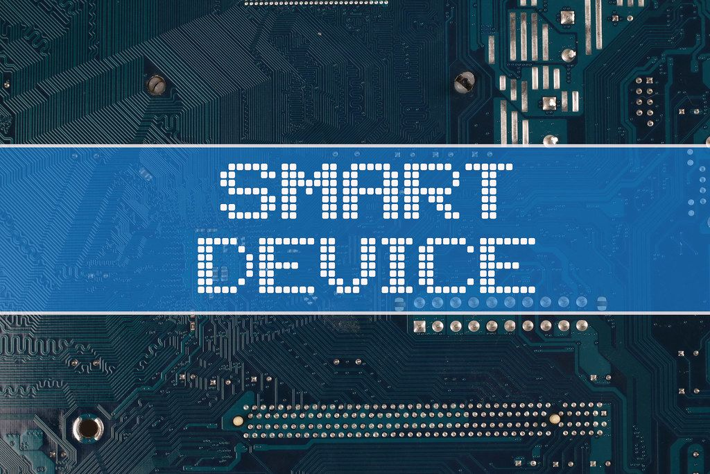 Smart device text over electronic circuit board background