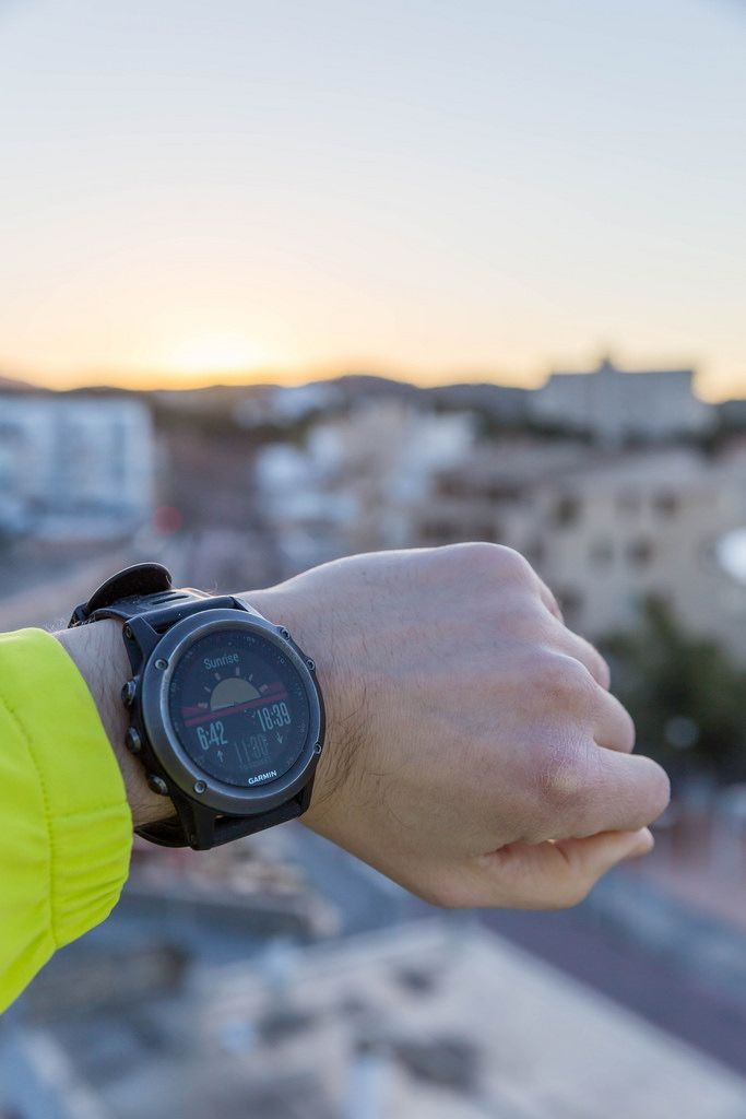 Smartwatch zeigt Sonnenaufgang an