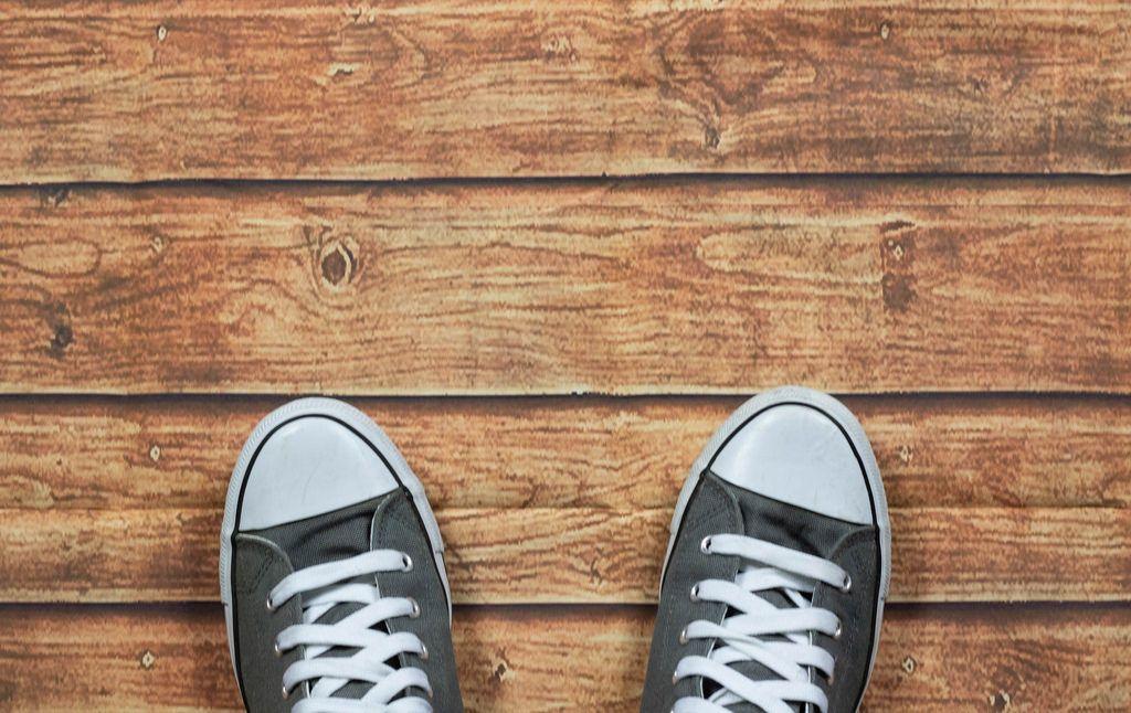Sneakers on wooden deck