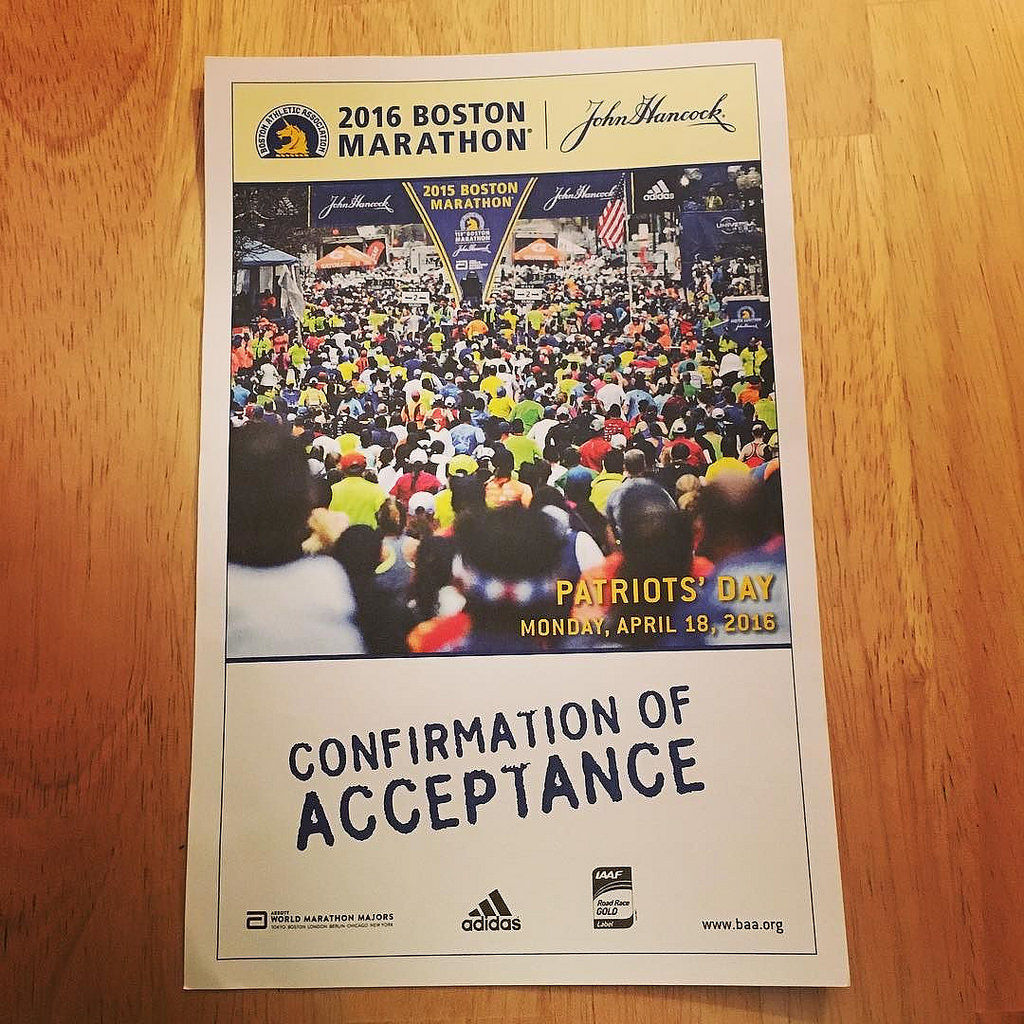 So happy about this 'snail mail confirmation'. Are you in, too? #bostonmarathon #marathon #runner #happy