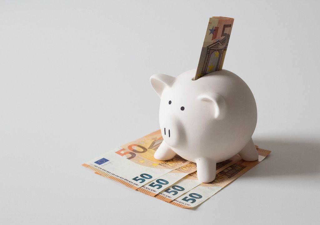 Sparschweinchen mit einem 50 Euro Geldschein