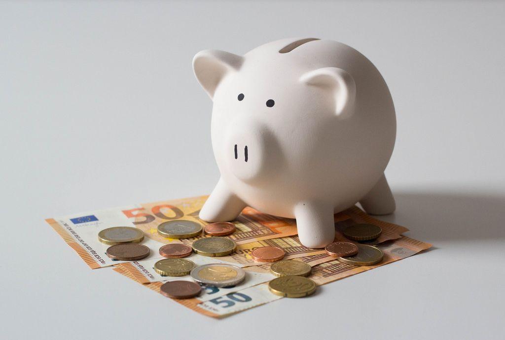 Sparschweinchen, Münzen und Geldscheine