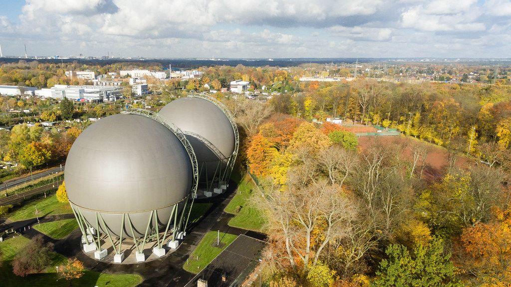 Spherical gas tank in Buchheim, Cologne - aerial photo