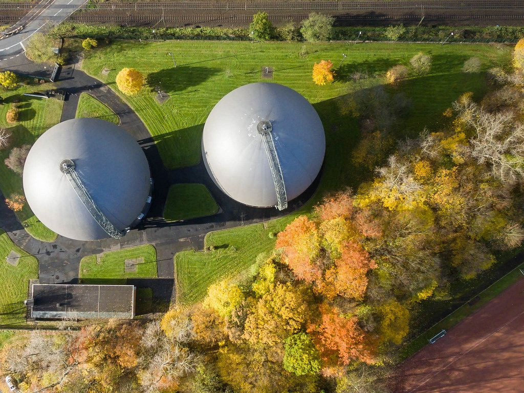 Spherical gas tank in Buchheim, Cologne - aerial photography