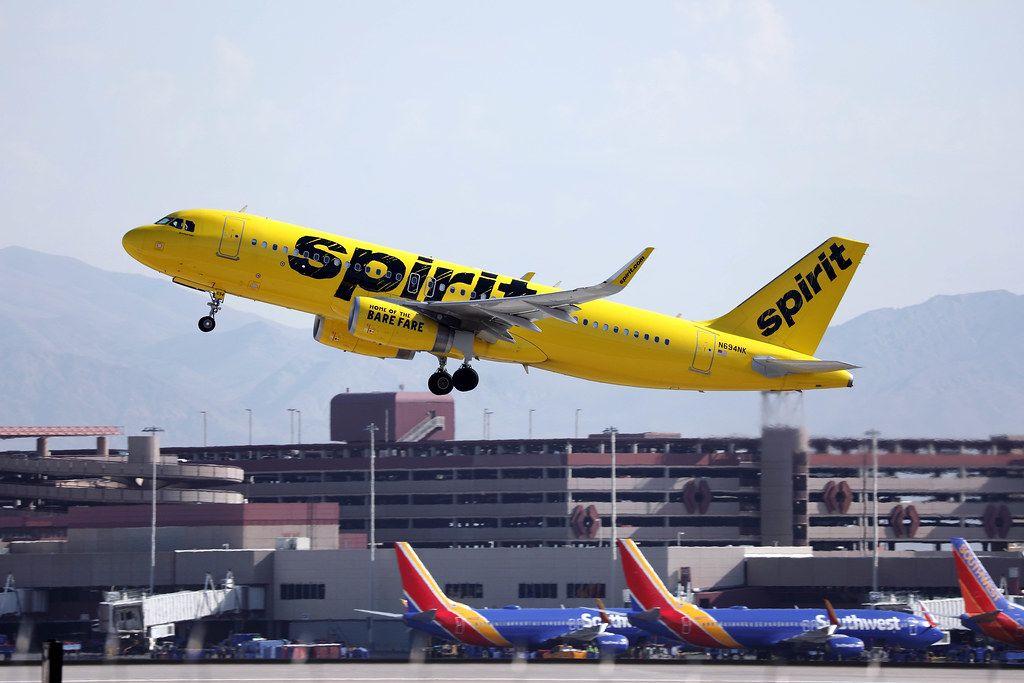 Spirit Airlines N694NK takes off from Las Vegas airport LAS