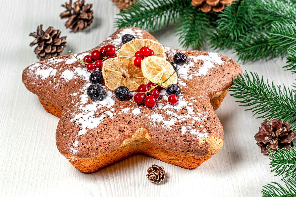 Sponge cake with red currants, blueberries and dried citrus pieces with Christmas tree branches and cones