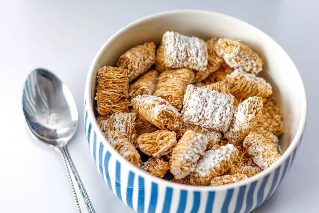 Square Wheat Cereal in a Bowl