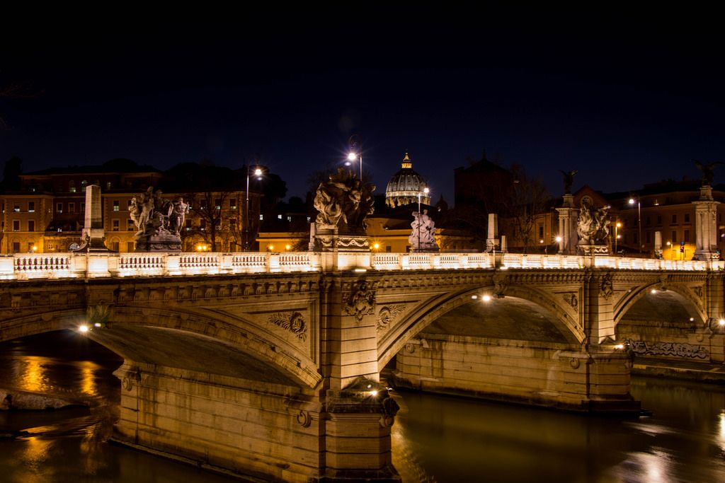 St Peter's Basilica and Bridge Vittorio Emanuele II at night
