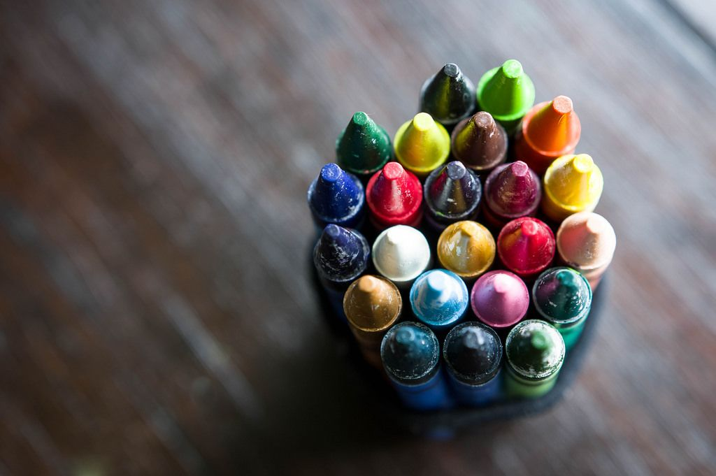 Stack of colorful wax crayons