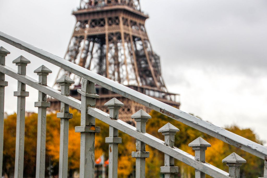 Stair Railing with Eiffel Tower in the background