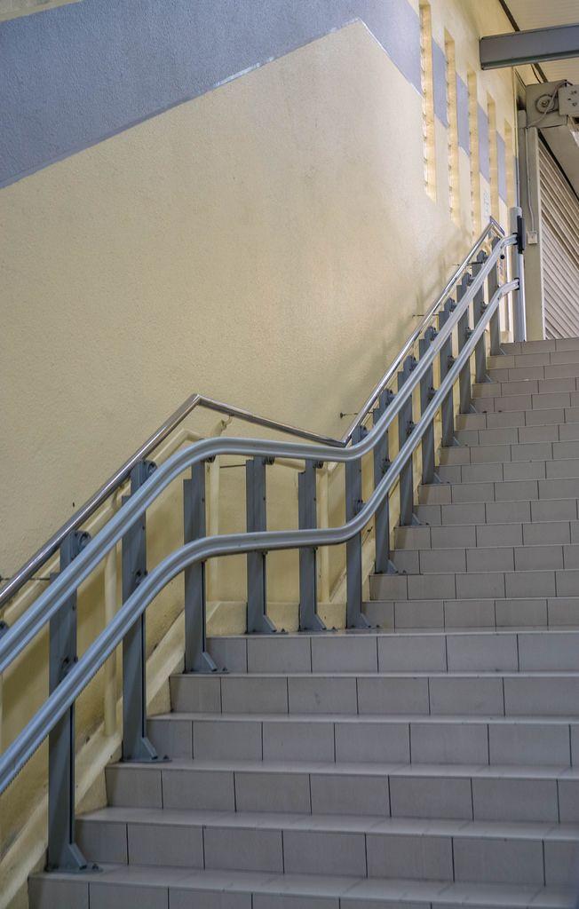 Stairs leading to Masjid Jamek Station in Kuala Lumpur