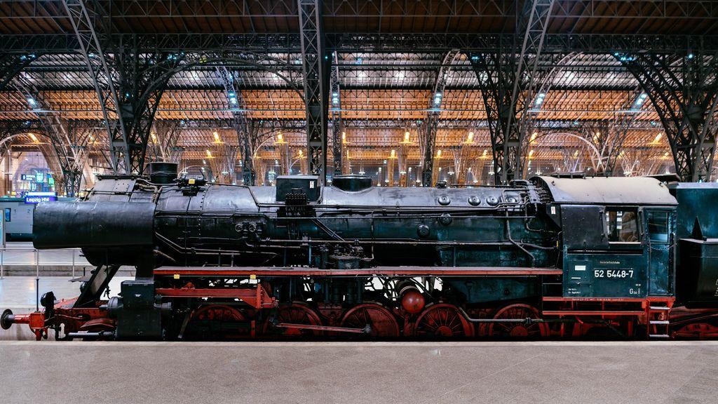 Steam locomotive of German Reich Railway at Leipzig station
