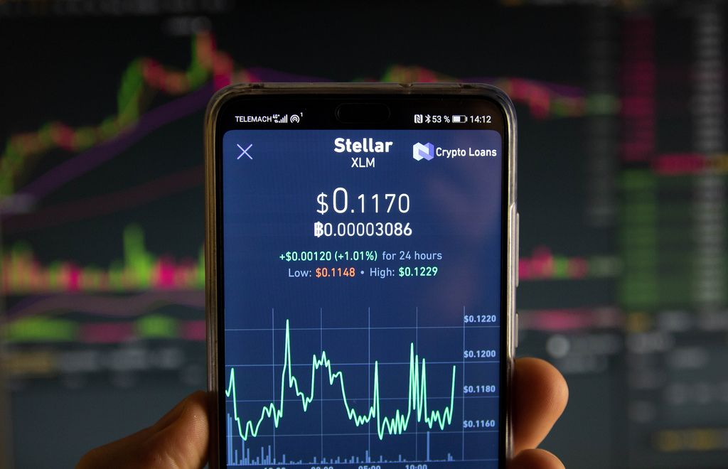 Stellar cryptocurrency price graph chart on mobile phone screen