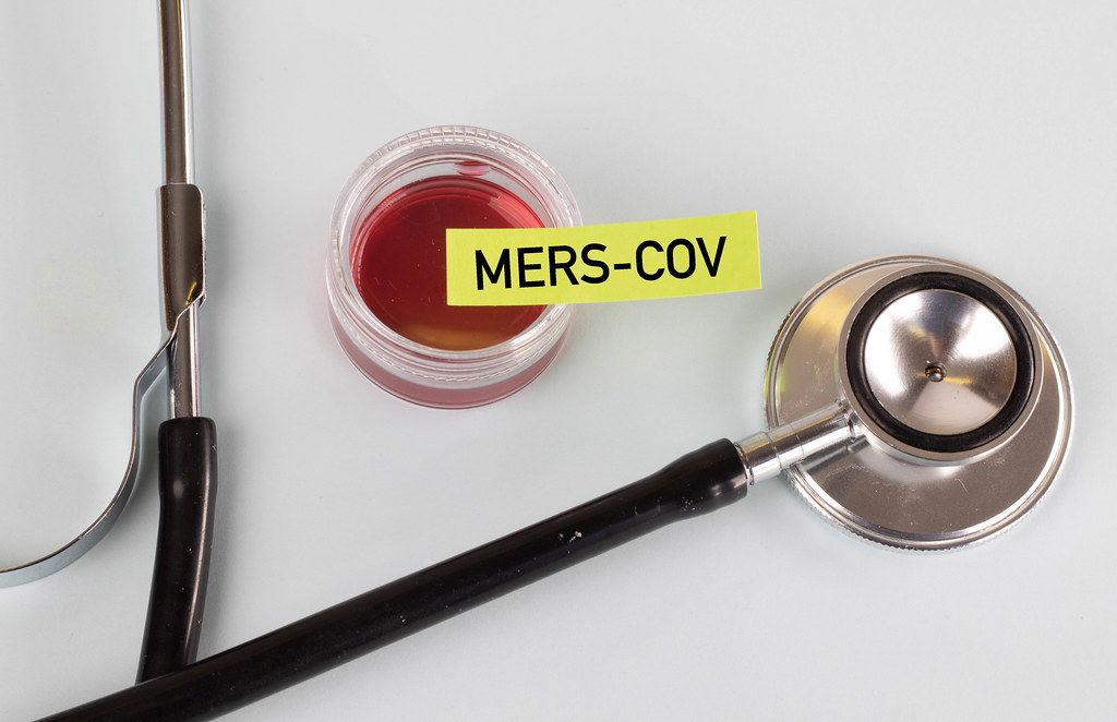 Stethoscope with Mers-Cov blood sample