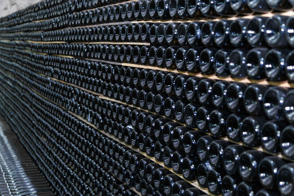 Storing champagne in the winery