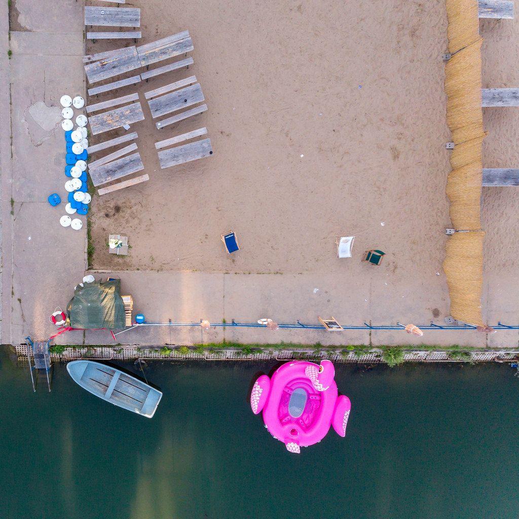 Strandbad Weißensee aus der Vogelperspektive
