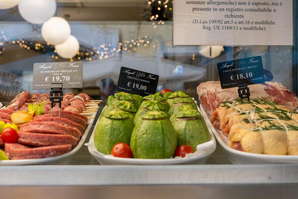 Stuffed Zucchini in the display window of a restaurant in Rome