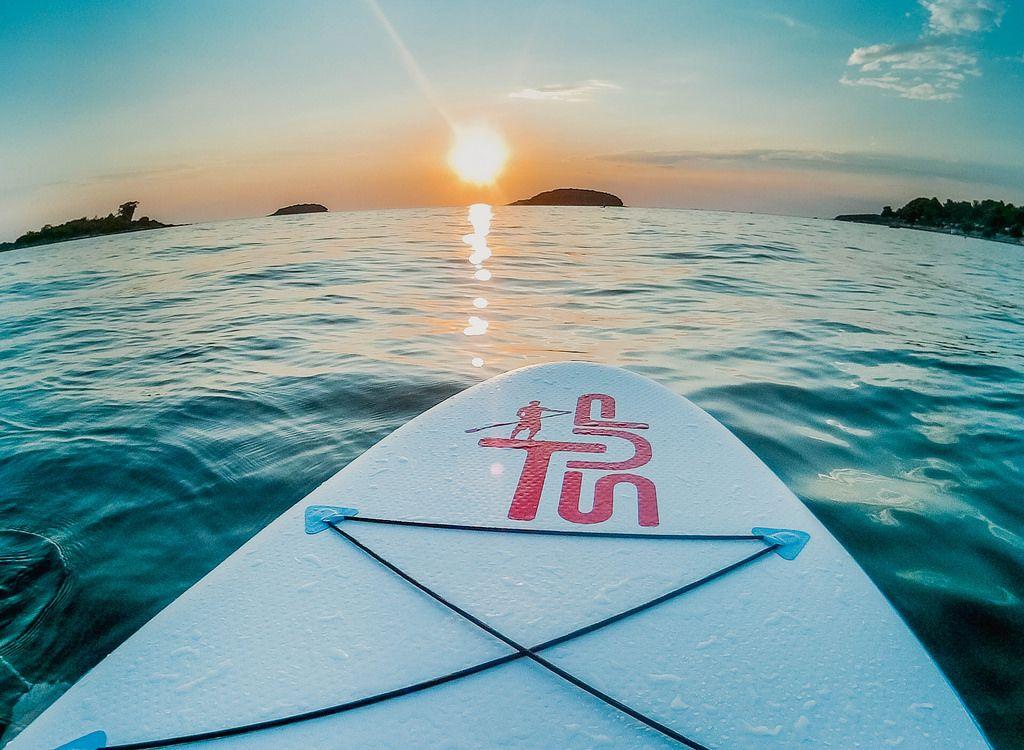 Sunset stand up paddling