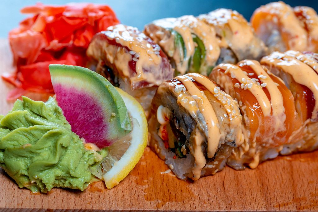 Sushi roll japanese food in restaurant.