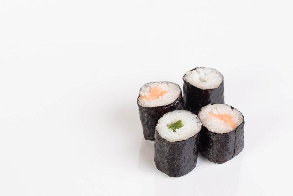 Sushi rolls on white background