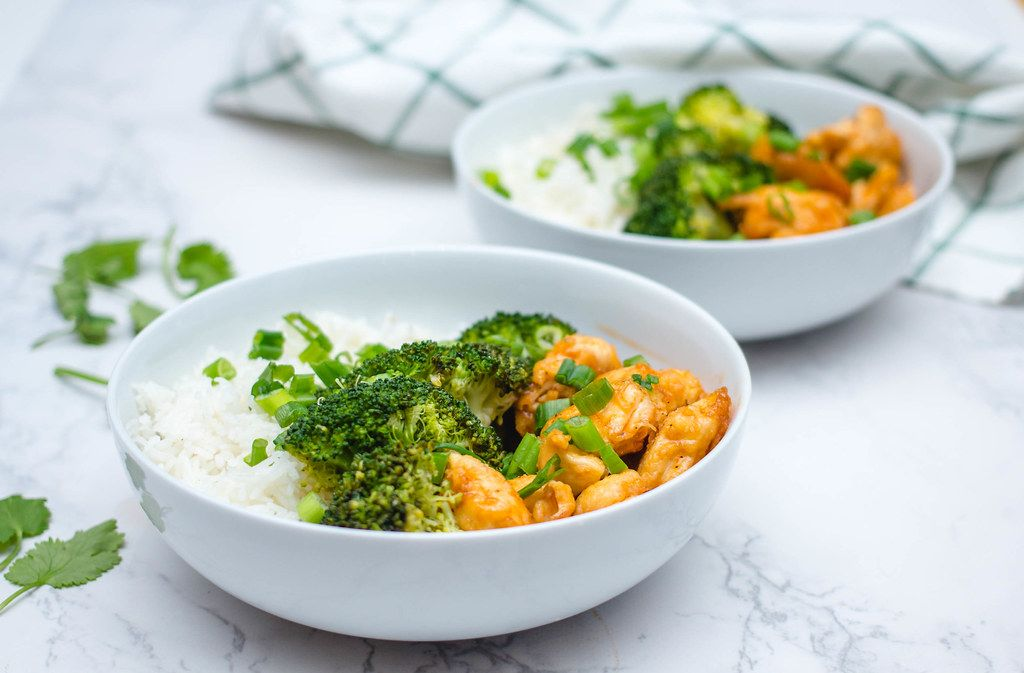 Sweet and Sour Chicken with Rice and Broccoli in a White Bowl  (Flip 2019)