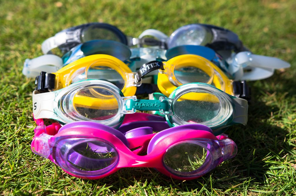 Swimming goggles on the grass