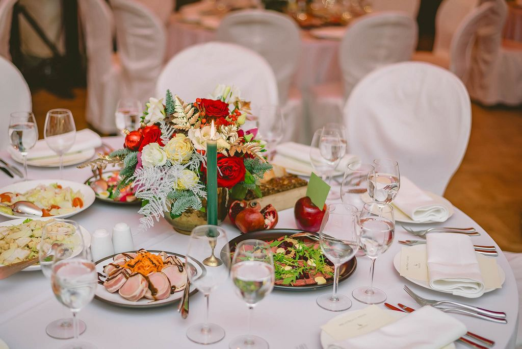 Table set in restaurant for celebration. Industry, arrangement.