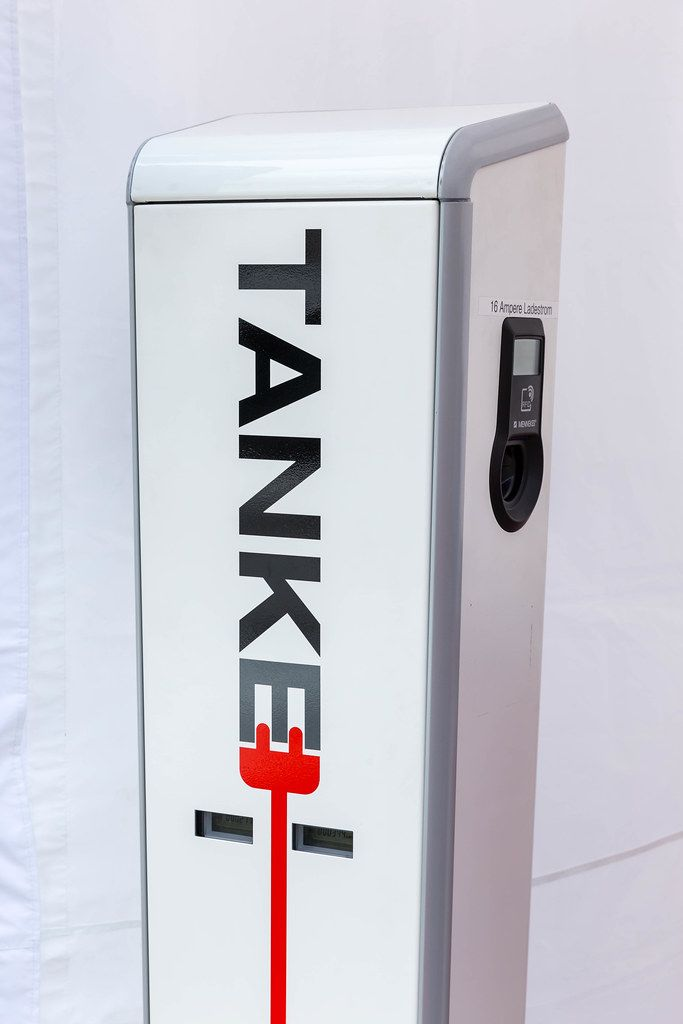 TankE electric filling station at the E-Cologne trade show for electric vehicles in Cologne, Germany