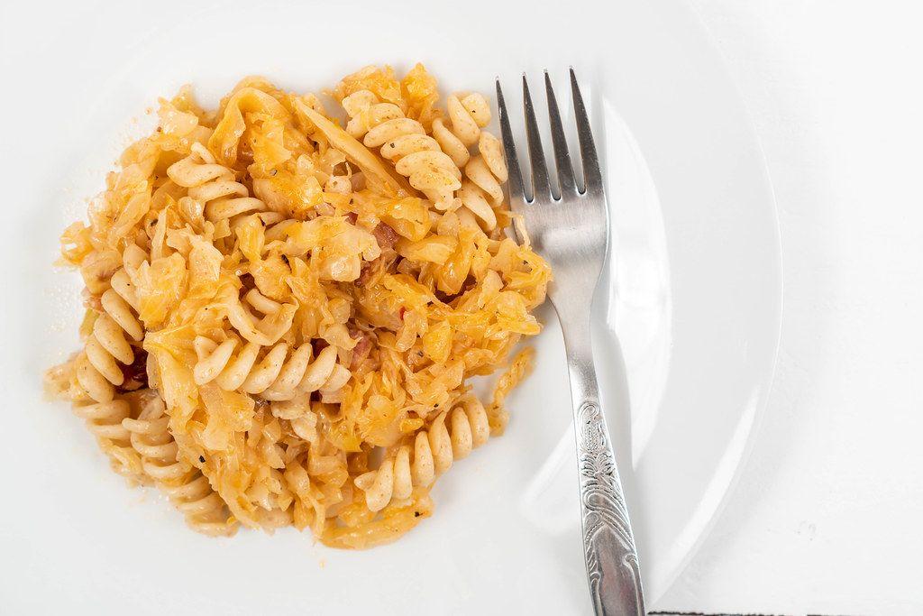 Tasty Pasta with Sauerkraut on the plate (Flip 2020)