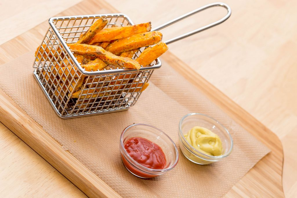 Tasty Sweet Potato Fries with Ketchup and Mustache