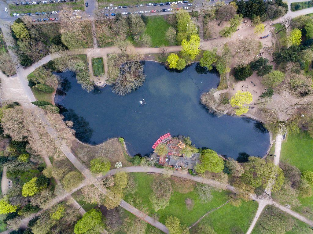 Teich im Park Volksgarten in Köln aus der Vogelperspektive