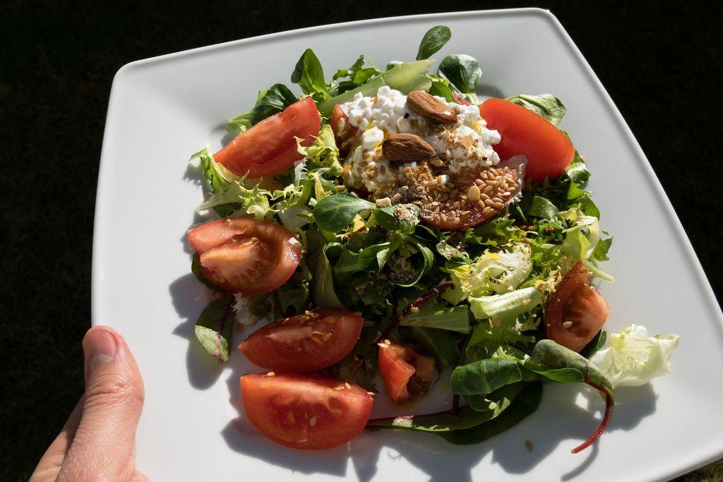 Teller mit gesundem Salat in der Hand. Zutaten: Mangold, Tomaten, Frischkäse, Mandeln und Leinsamen