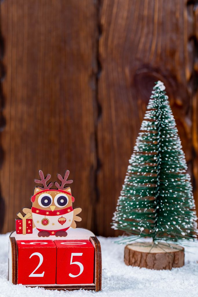 The concept of Christmas eve. Christmas tree on snow background with date 24