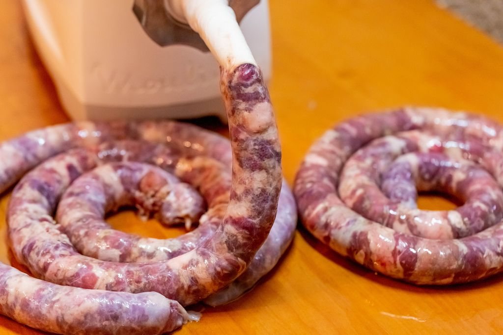 The process of cooking sausage