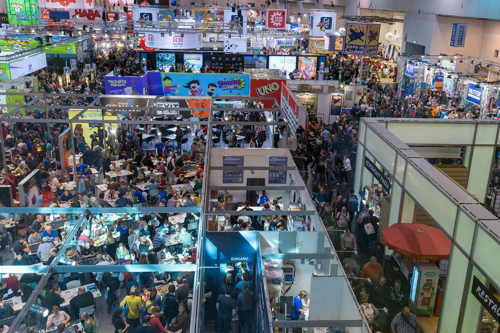 The SPIEL 19 gaming fair in Essen, Germany, packed with visitors on the first day