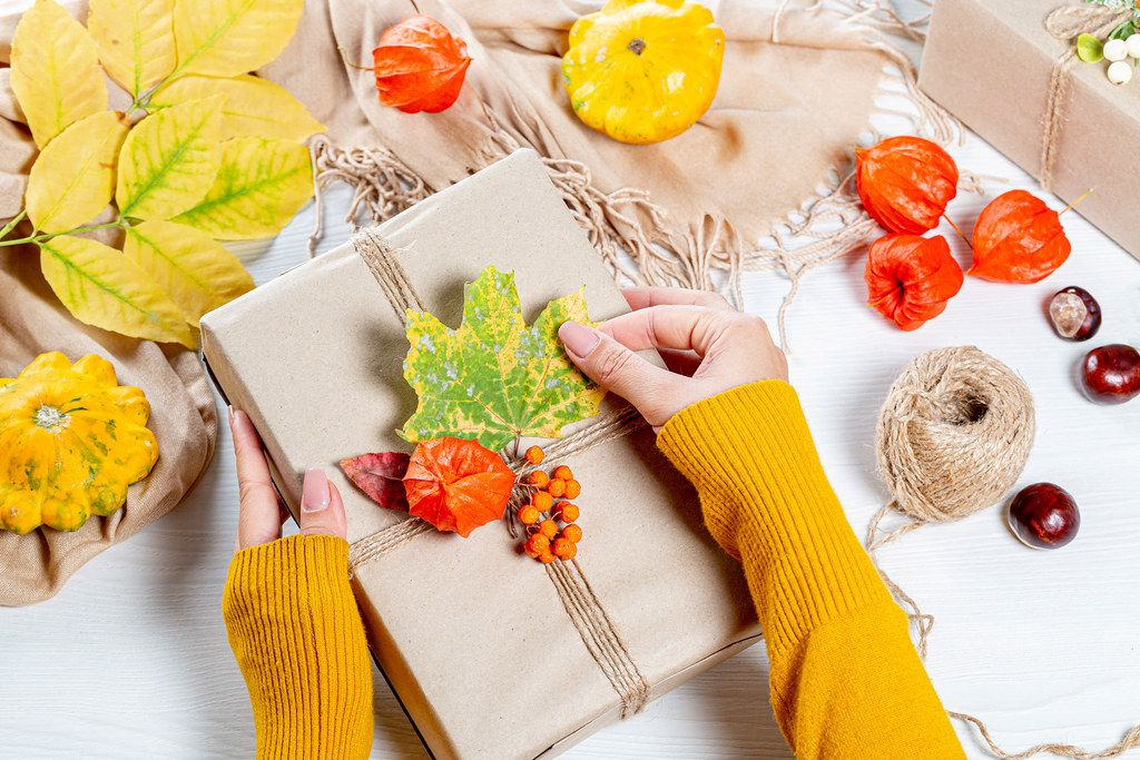 The woman wraps a gift at thanksgiving on autumn background