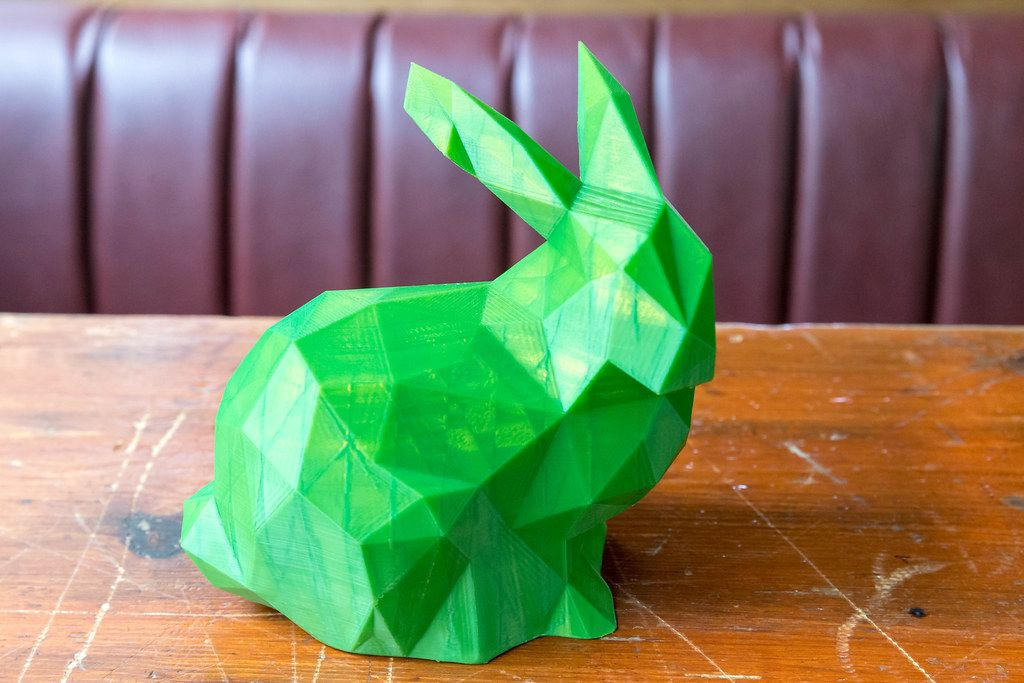 Three-dimensional print of a green Easter bunny from the 3D printer