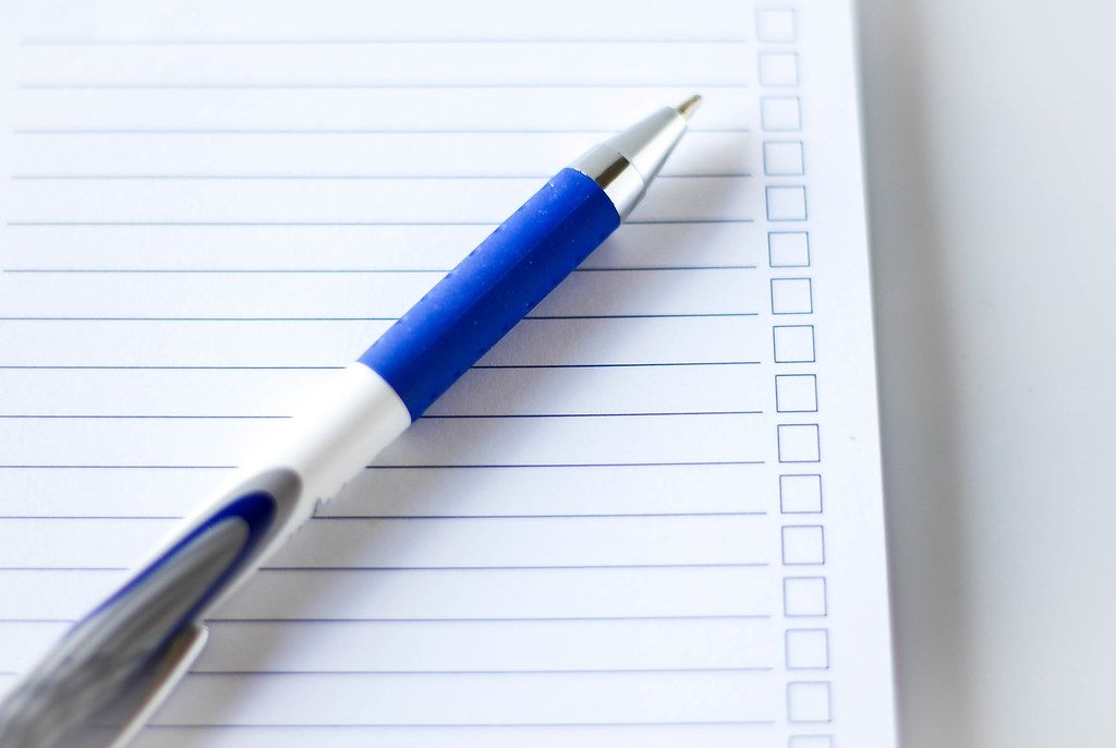 To do list pen with checking boxes
