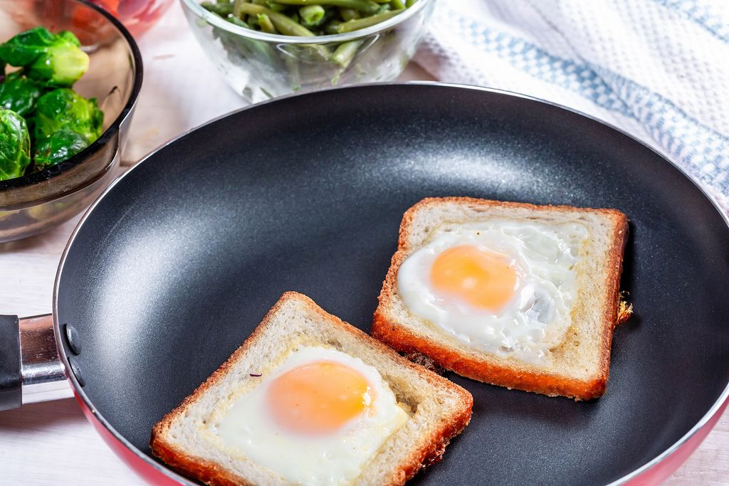 Toast bread with fried eggs in a frying pan (Flip 2019)