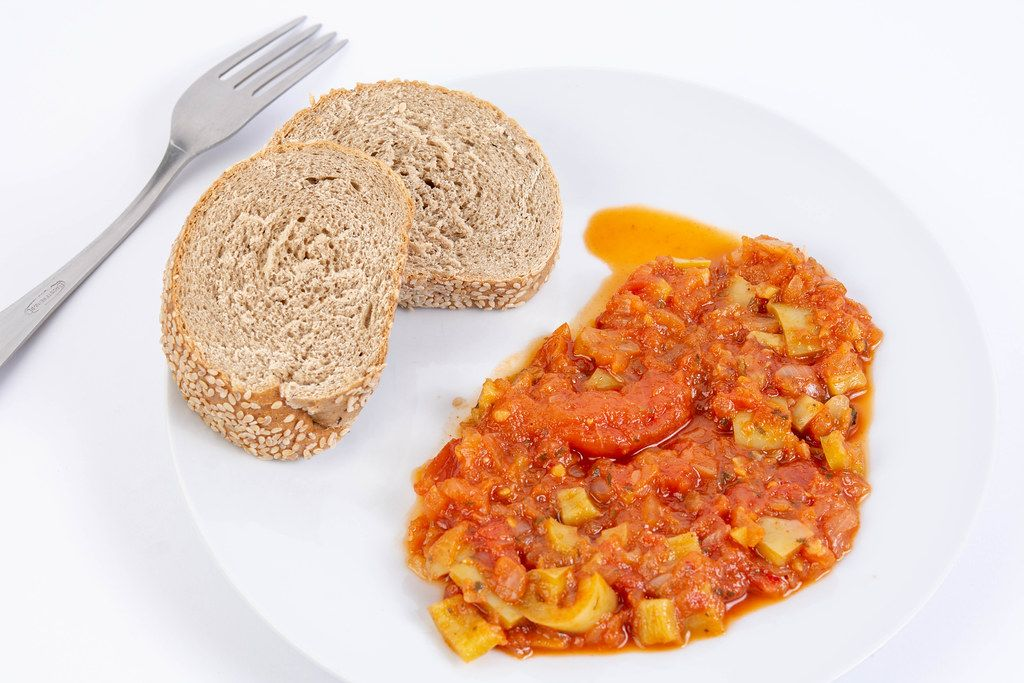 Tomato Stew with fried Chicken Breasts with bread