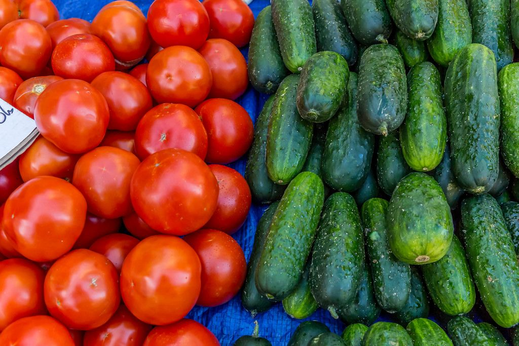 Tomatos and cucumbers on marketplace