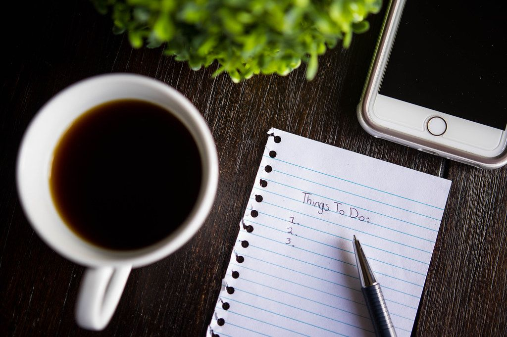 Top-down of a Things-To-Do list