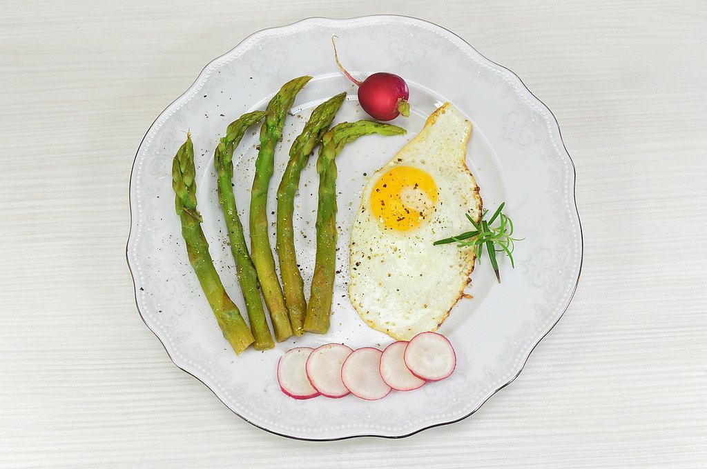 Top View Food Photo of Asparagus with Fried Egg on a White Plate