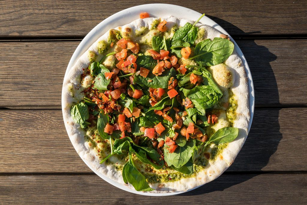 Top view of a Pizza Vegitalia. Vegan Pizza