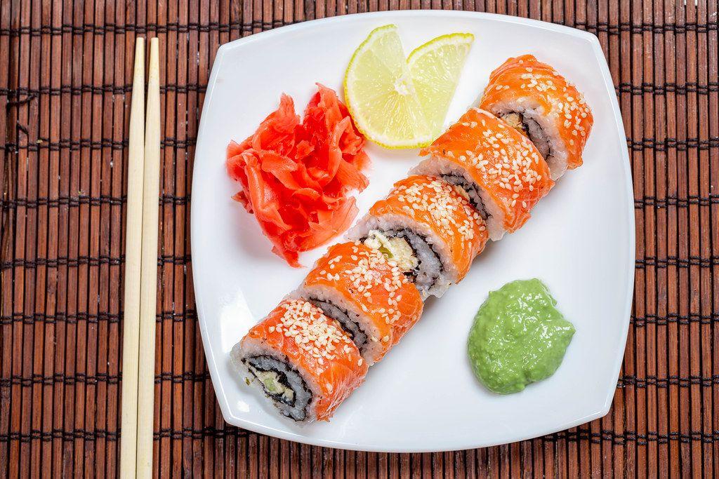 Top view of finished Philadelphia sushi rolls (Flip 2019)