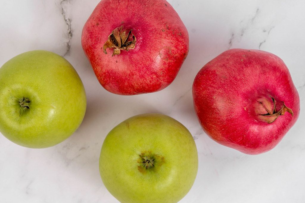 Top view of Green Apple and Pomegranate