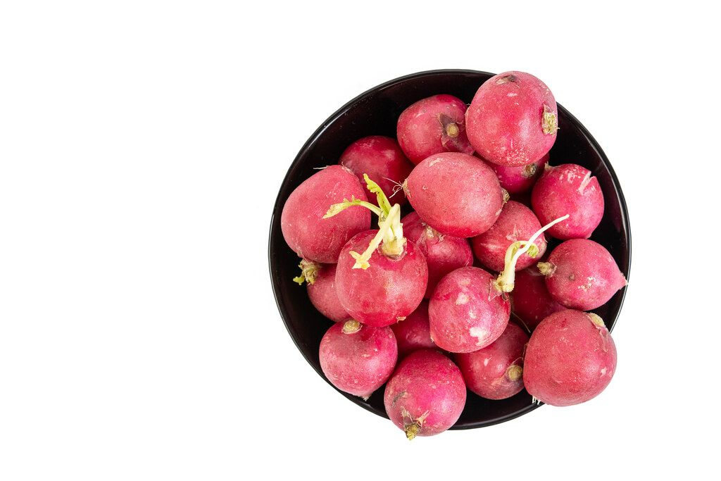 Top view of Healthy Fresh Red Radishes