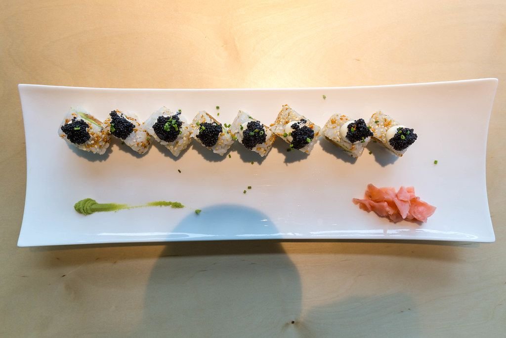 Top view of Japanese Sushi rolls