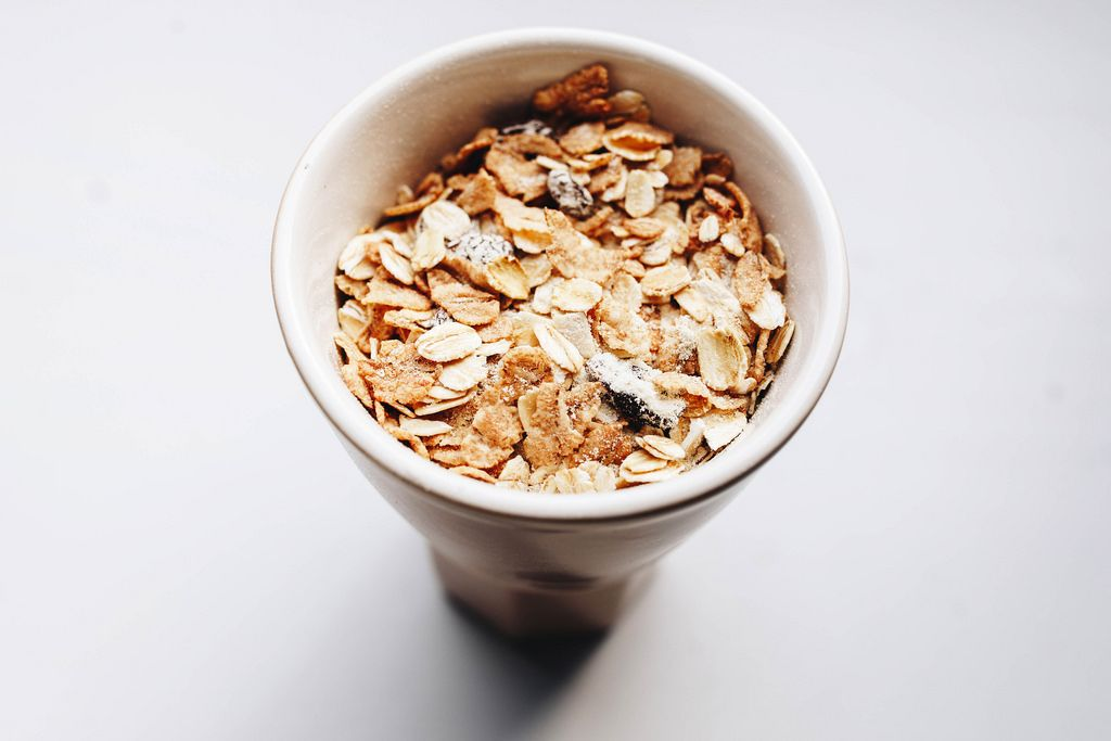 Top view of muesli in a cup. Close up